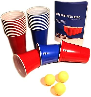 16 Oz Red & Blue Beer Cup Party Pack+ Beer Pong Bälle & Regelwerk Rote Becher