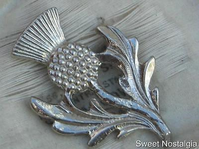 Lovely Vintage 60/70's Silver Tone Scottish Thistle Flower Brooch