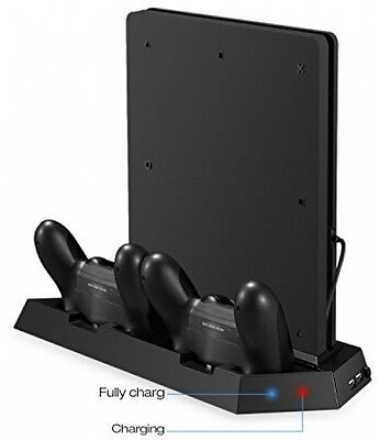 PS4 Slim Vertical Stand Controller Charger With Cooling Fan and USB HUB CoJoie