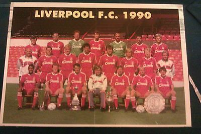 1990 Liverpool Fc Anfield - Signed Poster By 16 Players - All Legends - On Board