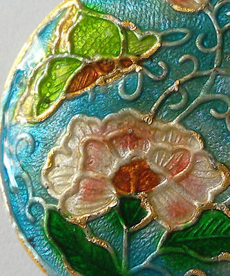 Round Cloisonne Focal Bead, Peony/Butterfly, Blue/Pink, 32mm, Jewellery Making