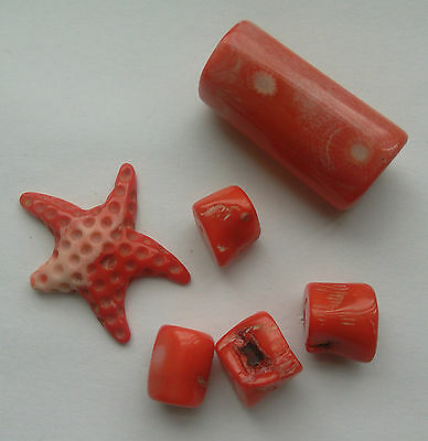 6 Carved Coral Beads; Starfish/Branch. Natural Colour. For Jewellery Making