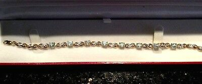 9ct GOLD BLUE TOPAZ AND DIAMOND KISS BRACELET 4.1g Valentines Day Gift rrp £130
