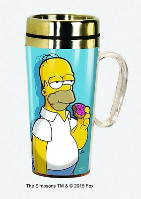 The Simpsons Homer Eating A Donut 15 oz. Stainless Steel Travel Mug NEW UNUSED