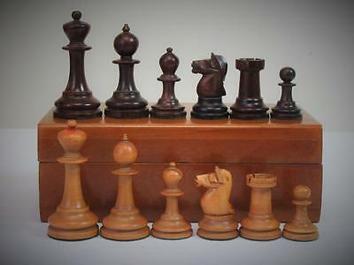 ANTIQUE NON JAQUES STAUNTON PATTERN CHESS SET KING 6.8mm + HARDWOOD  BOX