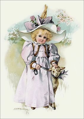 Maud Humphrey Girl w Easter Lamb and Bonnet 8 x 10 Repro Print RP