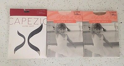 3 Capezio Ultra Soft Footed Tights NEW Black Ballet Pink Caramel Size 8-12