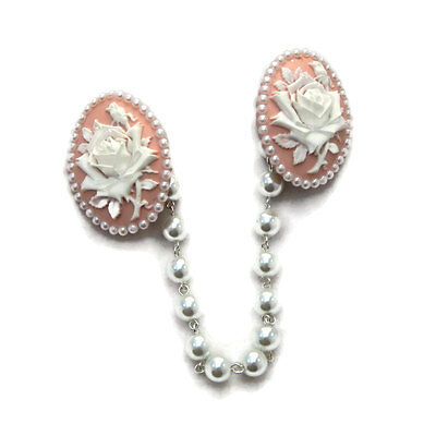 Pink and White Rose Cameo Sweater Clip With White Pearls