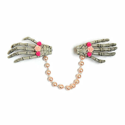 Skeleton Hands Sweater Clip with Pink Roses