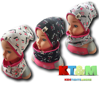 Girl Toddler Kids Spring Autumn Hat Cap and Scarf Snood Set Cotton Size 1-7years