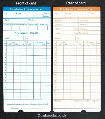Monthly Time Cards/ Clocking/ Clock Cards for Electronic Time Recorder (x50)