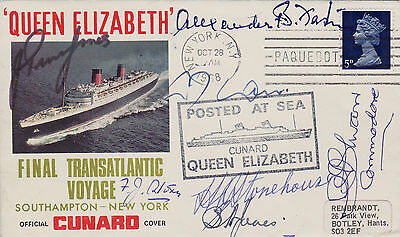 Cunard Queen Elizabeth Final Voyage Cover **signed By 7 Queens Masters** (1968)