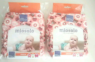 2x Bambino Mio Miosolo All in One Reusable Washable Bear Nappy NEW