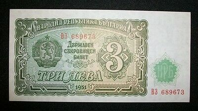 Bulgaria 3 Leva 1951 Mint Unc  Note