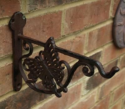 Butterfly Hanging Basket Bracket Hook Cast Iron Vintage Brown Garden Decorat New
