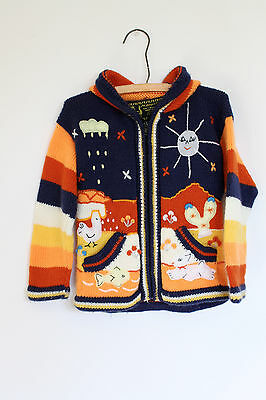 Kids Alpaca Sweater Ecuador Soft Wool Cardigan Knitted Animals PIxie Hood Sweate