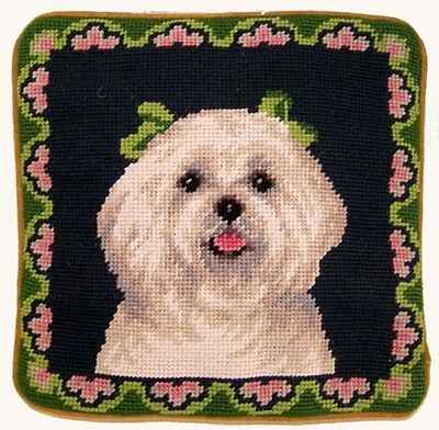 "Maltese Floral Border Dog Portrait - 10"" Needlepoint Dog Pillow"