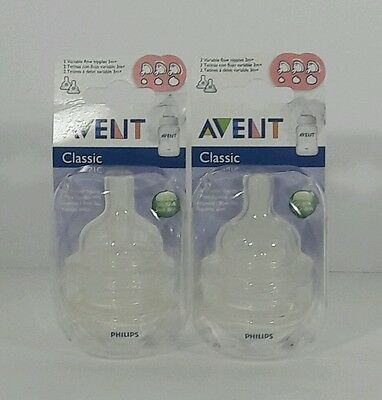 2 2pk lot (4 Total) Philips Avent Classic+ Medium Flow Nipples 3m+ NEW FREE SHIP