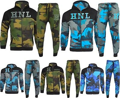 Brand New Boys Kids Army Camouflage Luxuary Fleece Tracksuit Jogging Suit Hoodie