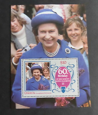 Union Is Grenadines St Vincent 1986 Queen's 60th Birthday MS MNH UM unmounted
