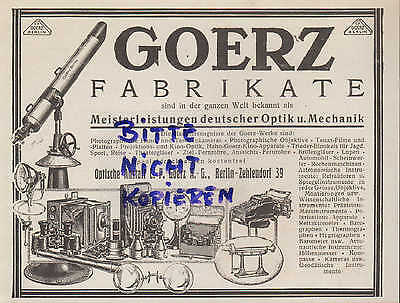 BERLIN, Werbung 1926, C. P. Goerz AG Optische Anstalt Kamera Glas Optik Mechanik