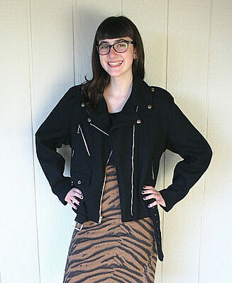 Vintage 90s Tripp NYC Wool Motorcycle Jacket Womens Size Small