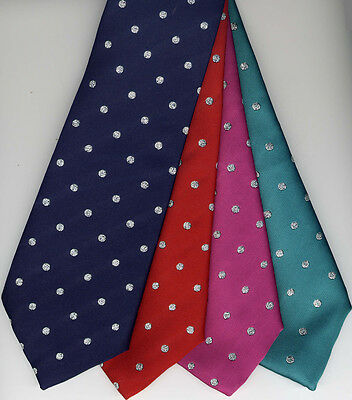 Silver Lurex Spots Show Tie Adult's Size UK Manufactured