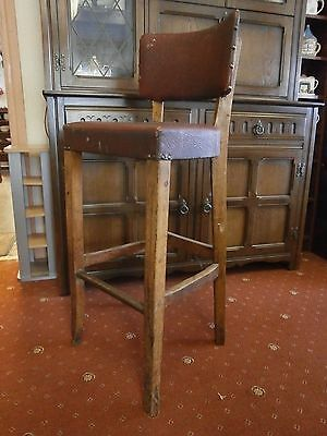 Vintage industrial factory oak stool with leather studded seat,machinist,welders