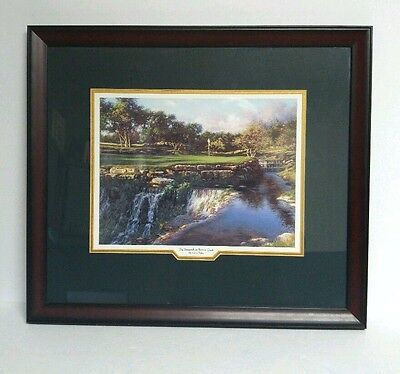 """Larry Dyke The 16th At Barton Creek Print Framed Matted Signed Art Golf Hole 20"""""""