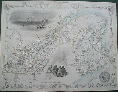 1851 East Canada & New Brunswick Antique Tallis Rapkin Map Engraving