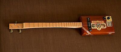 Cigar box Guitar 3 string Acoustic/Electric single coil pickup volume and tone