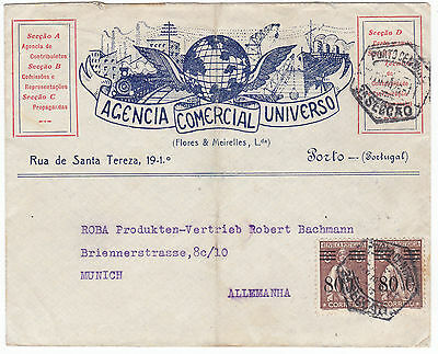 Portugal Cover to germany Surcharged 6C strip ceres.1928