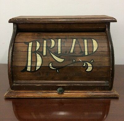 """Vintage Roll Top Wooden Bread Box Wood Painted Kitchen Country 18 """" Rare"""