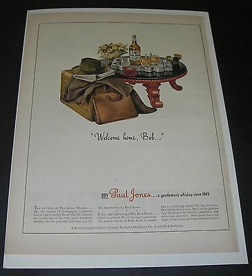 Print Ad 1943 DISTILLERY Paul Jones Whiskey ART Welcome Home Bob Suitcase Hat