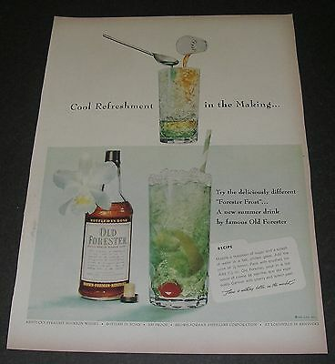Print Ad DISTILLERY 1955 Old Forester Whiskey Frost Cool Refreshment in making