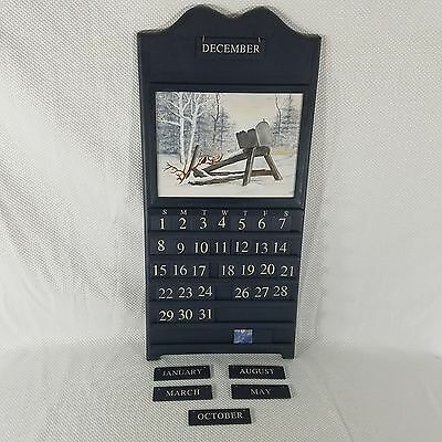 Heavy Wooden Perpetual Wall Calendar Blue Snow Woods Trees Cardinal Painted