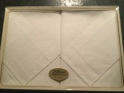 NEW Boxed Vintage Retro 2x Mens Handkerchiefs All Cotton UK Made FREE UK P&P