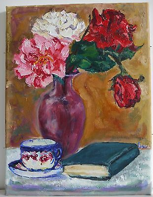 Beautiful signed colourist oil painting of a still life with flowers