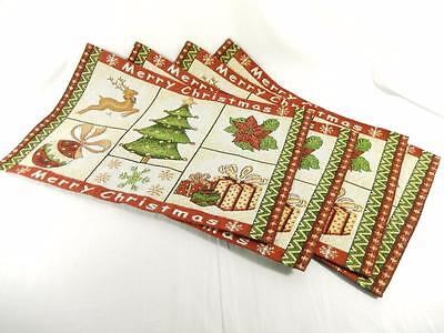 Tapestry Christmas Placemats Set of 4, and Matching Table Runner, New