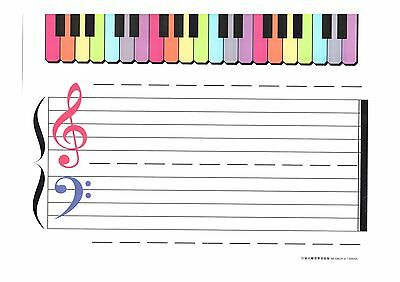Music Theory Instruction Board Double Sided to suit Erasable Whiteboard Markers
