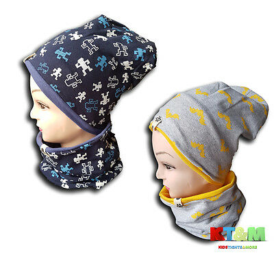 Boy Toddler Kids Spring Autumn Hat Cap and Scarf Snood Set Cotton Size 4-7years