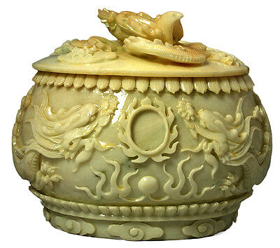Carved White Marble Dragon Urn