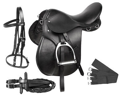 New 16 17 18 Black All Purpose English Saddle Horse Jumping Complete Package