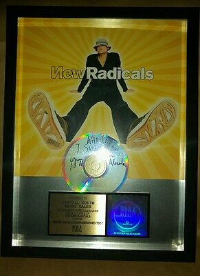 """New Radicals SIGNED Gregg Alexander """"gold disc"""" presentation disc official RIAA"""
