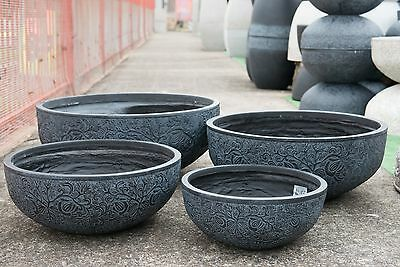 Outdoor Garden Patio Entrance Planter Botanica Low Bowl Pot Round Black
