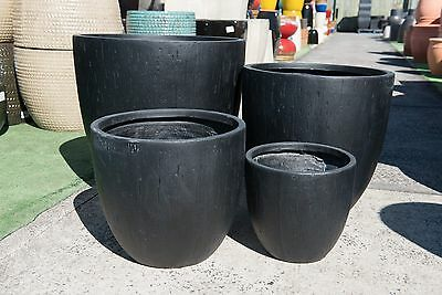 Outdoor Garden Patio Entrance Planter Cameron Egg Pot Round Small Large Black