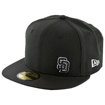 buy popular 037a8 a9c1d New Era 59Fifty San Diego Padres Fitted Hat (Flawless Black Black White)