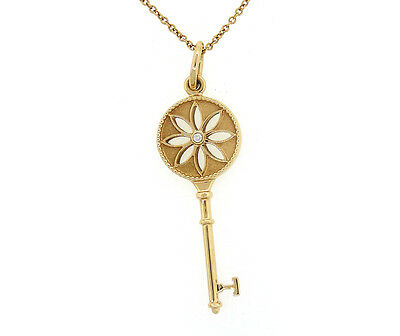 Tiffany & Co. Daisy Key in 18K Rose Gold and Diamond, Pendant on Chain Necklace