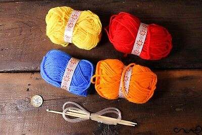 DIY Knitting Starter Kit Set Beginner Kids Gift 4Yarns Crochet Knitting Needle