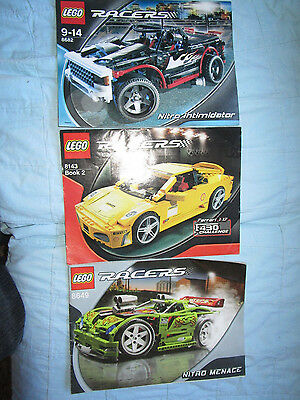 LEGO 8143, 8682, 8649 Racers Nitro Menace Manuals, Instructions ONLY, 3 BOOKLETS